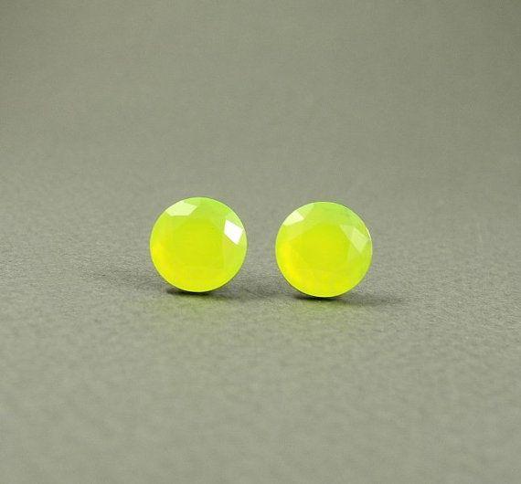 Neon Yellow Earring Studs  Neon Earring Posts  by MistyAurora, $15.00