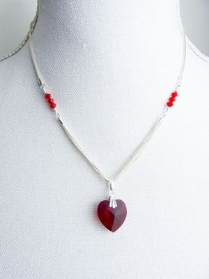 Reserved for Rolf - Sterling Silver Necklave with a Swarovski Crystal Red Heart