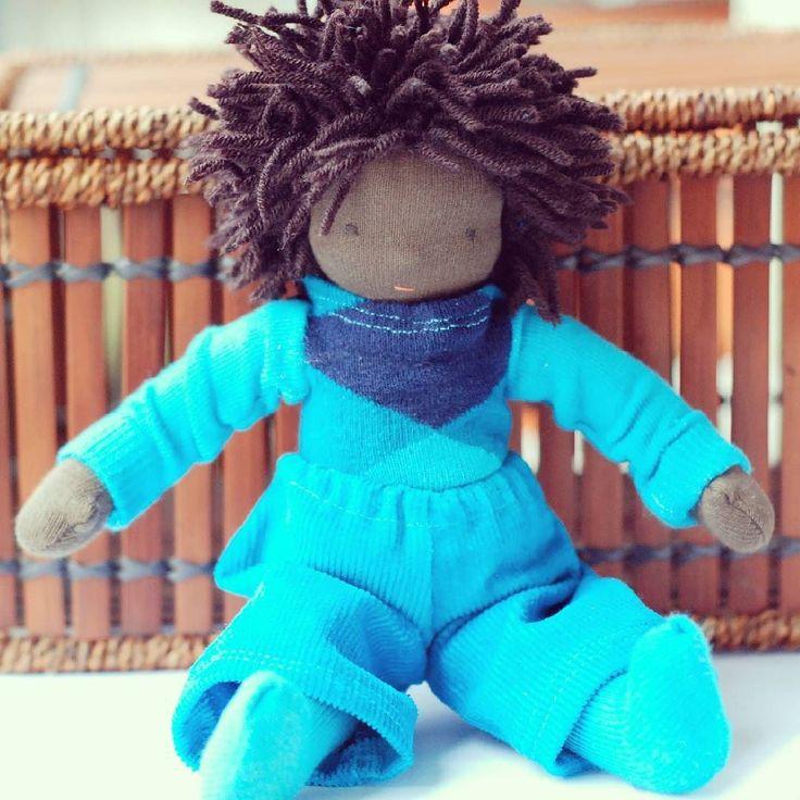 Custom doll for a little boy. <3  #waldorf #waldorfdoll #dollforboys #doll #dollsewing #africanamericandolls #etsyseller