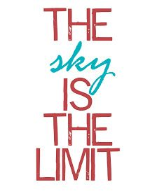 No time to be bored: The sky is the limit - free printable quote in red and aqua.