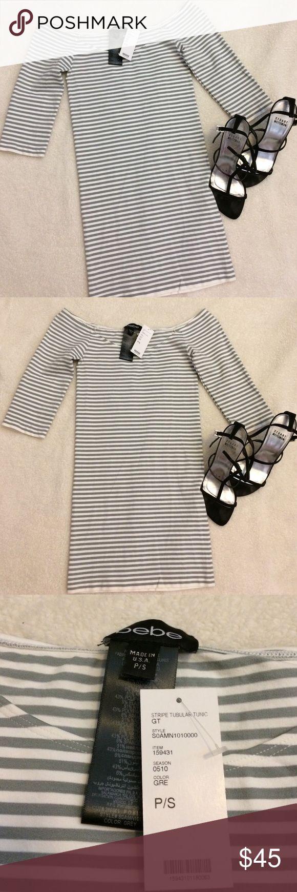 Bebe Dress Bebe Skin Tight Dress - Gray and White - Stripped - Petite Small - Brand New bebe Dresses Maxi
