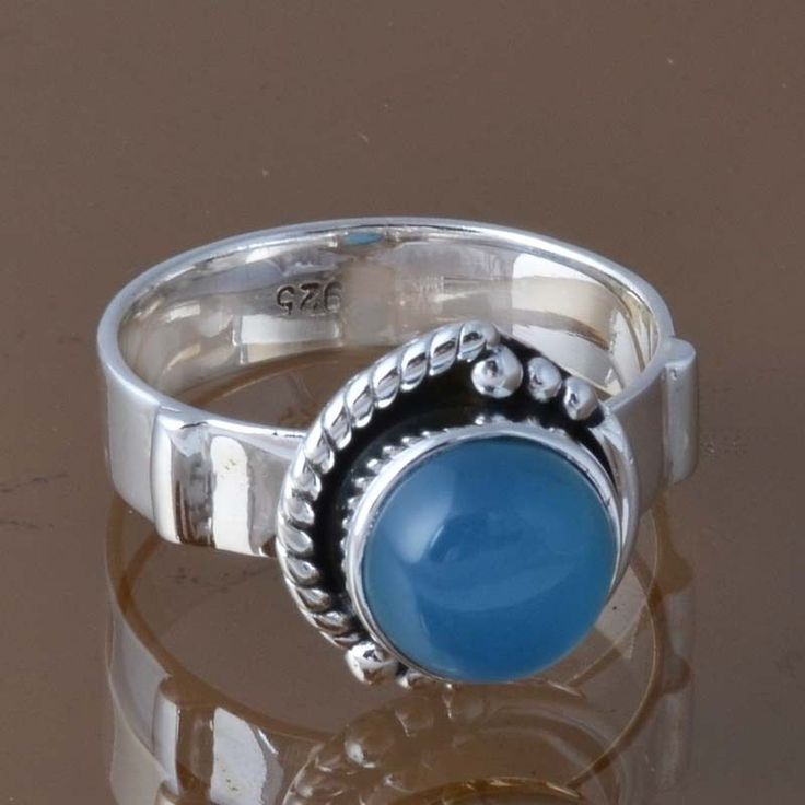 925 STERLING SILVER BLUE CHALSIDONY RING JEWELLERY 5.23g DJR8302 SZ-9 #Handmade #Ring