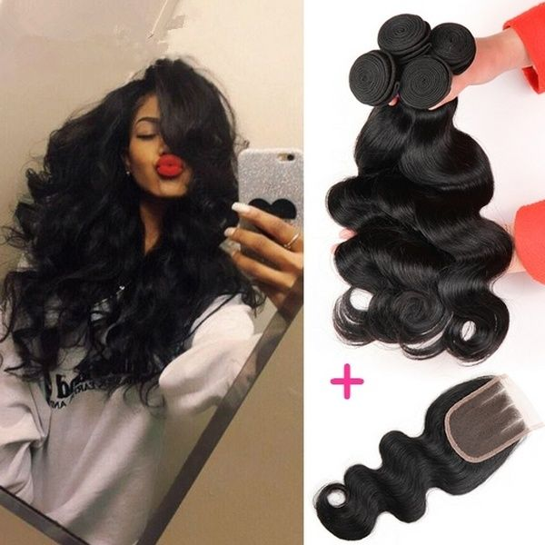 """Brazilian Body Wave 3 Bundles Hair Wefts 100% Human Hair Wefts With 1pc 12″"""" 4″""""x4″"""" Brazilian Lace Closure Three Part Brazillian Lace Closure"""