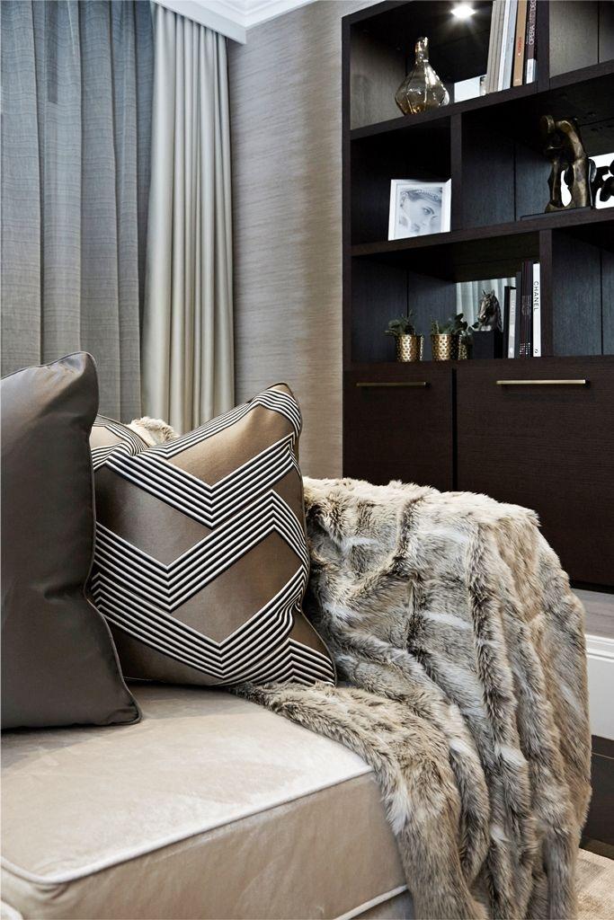Boscolo Interior Design - Mayfair Apartment - Living Room Detail Shot #interiordesign #couch #sofa #cushions #fur #shelf #books #bookcase