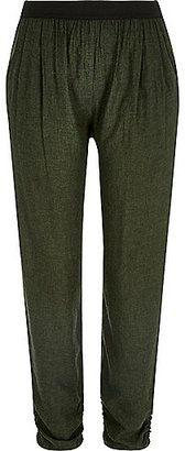 River Island Womens Khaki green woven jogger pants - Shop for women's Pants - Khaki Pants