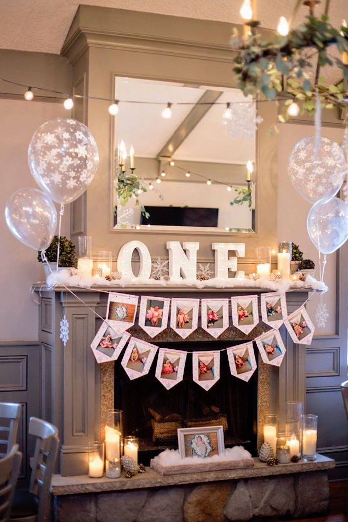 First-year photo banner, decor and bunting from a Winter ONEderland First Birthday Party on Kara's Party Ideas | KarasPartyIdeas.com (4)