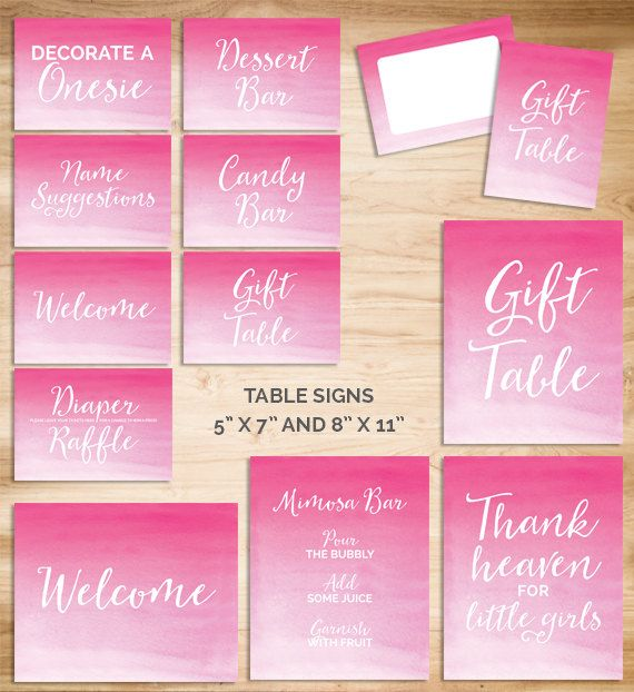 Baby shower signs. Table signs. Baby girl shower set. Pink watercolor baby shower printable kit. Baby shower party supplies.