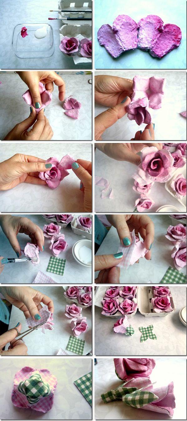 How to Make Carboard Roses with Egg Cartons by lefrufru via http://tinyurl.com/7d582ob    #DIY #Cardboard_Roses #Egg_Cartons #Upcycle #lefrufru #rosijofarcon