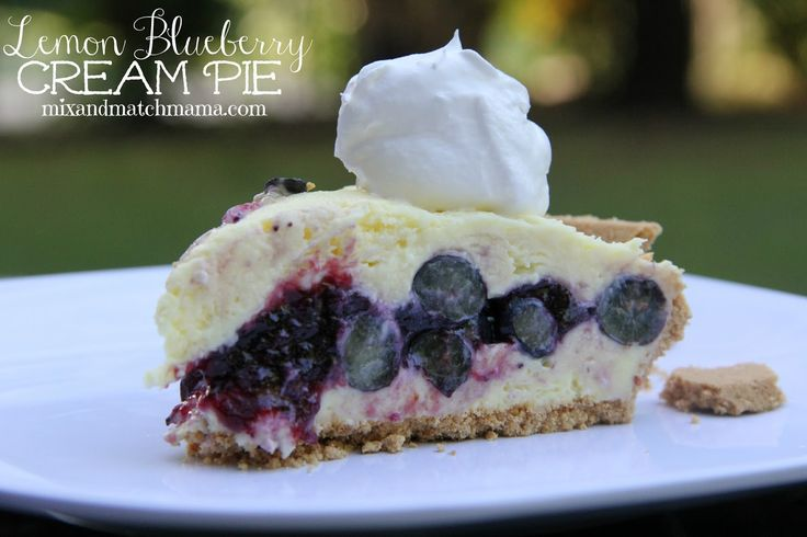 Lemon Blueberry Cream Pie is a no bake favorite during the summer