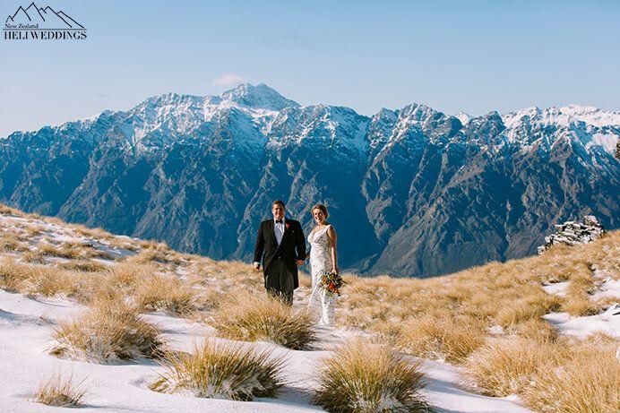 Wedding photos in the snow on Garden Spurs Queenstown New Zealand