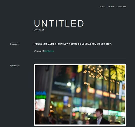 This free Tumblr theme has a dark and minimalist design, making it ideal for a range of different sites.