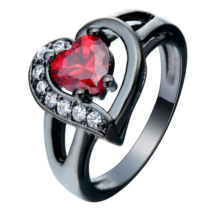 Trendy romantic black gun plated heart BLUE PINK Red CZ zircon party ring jewelry for women bridal love wedding rings size 7-11