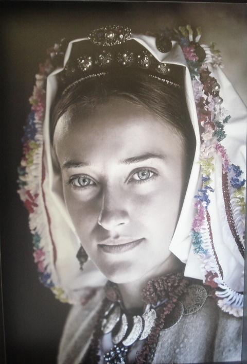 Ethnic clothing in Debeljak, near Banja Luka. Clothes by Ljuba Čavrak, maiden Gazić, circa 1950. for her wedding.