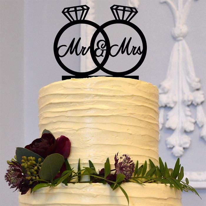Wedding Cake Topper Decorations Simple Elegant Mr Mrs Diamond Ring