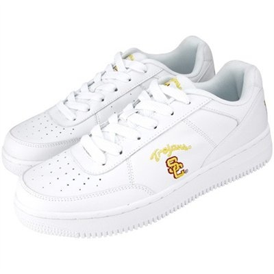 USC Trojans White Team Logo Leather Tennis Shoes  #UltimateTailgate #Fanatics