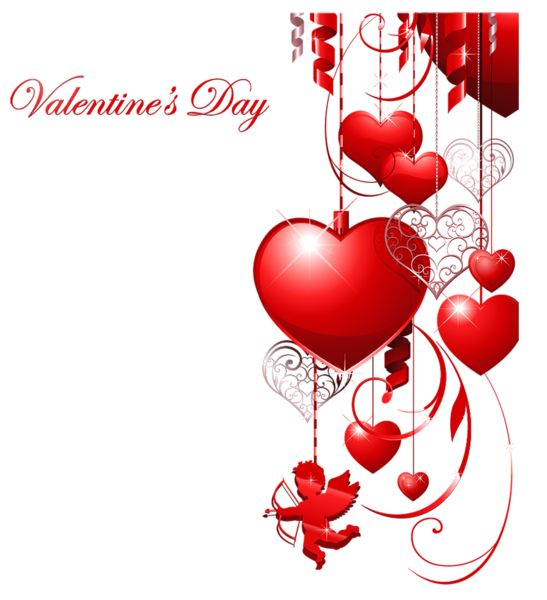 Valentines Day Decor with Hearts and Cupid Clipart                                                                                                                                                                                 More
