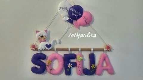 Felt cat,name banner https://www.facebook.com/sanjarilica