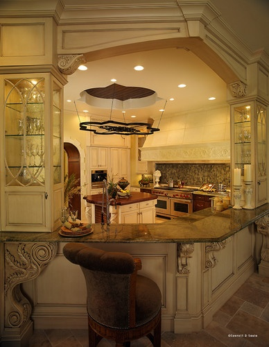 Mediterranean Kitchens - beautiful bar with corbels