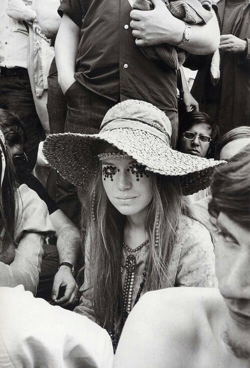I love the way the woman in this image is surrounded by people, as hippies most often were. I feel the hat could be a great starting point for my pitiful choice for my portrait of a hippie. I love the way it curves in this image, pulling all your focus on to the model.