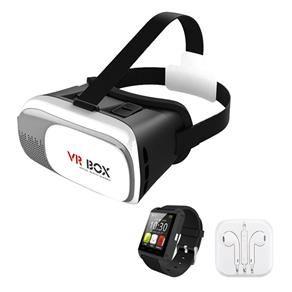 Óculos VR Box 2.0 realidade virtual 3D + Smartwatch U8 + Fone de ouvido