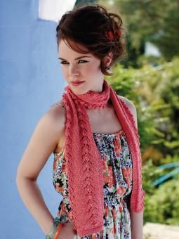 Tornine - Knit this womens lace and bobble scarf from the Truesilk Collection, designed by Martin Storey using the divine yarn, Truesilk (mulberry sil...