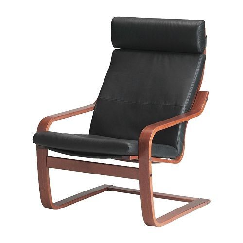 2 Ikea black leather Poang chairs