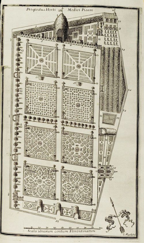 :Michael Angelo Tilli, garden design, Catalogus Plantarum Horti Pisani, 1723. Florence. This garden, founded in 1543, is one of the earliest in Europe. University of Heidelberg / via design-is-fine