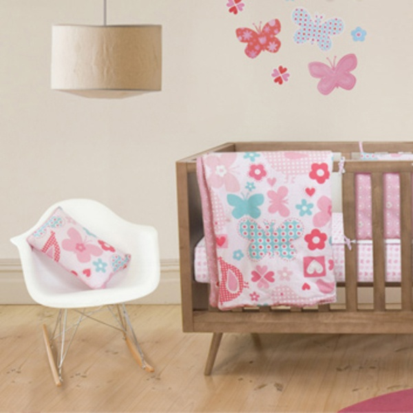 Tweet Heart Cot Quilt for Baby Girls (organic cotton)