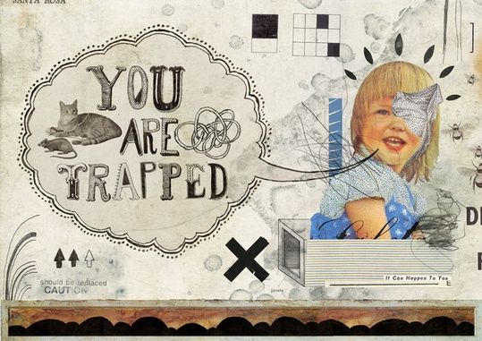"Collage ""Trapped"" by Eduardo Recife  side note: trapped inside a false representation?"
