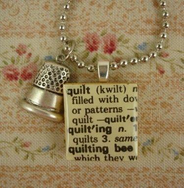 QUILT Vintage Scrabble Definition Charm Necklace by RoseCreekCottage