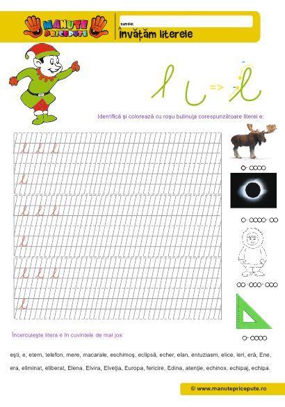 Manute pricepute - Fise de lucru abecedar - Litera E