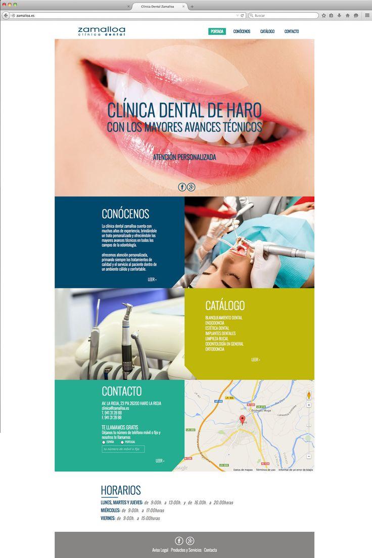 Color y diseño para la nueva web de la clínica dental Zamalloa. http://www.zamalloa.es/