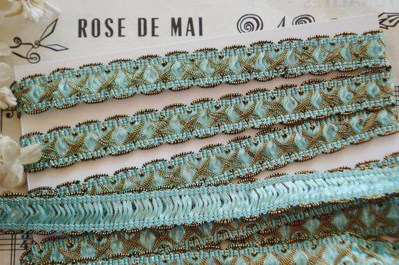 "18/"" ANTIQUE FRENCH BLUE OMBRE ROSETTE FLOWER TRIM VTG DOLL DRESS HAT"