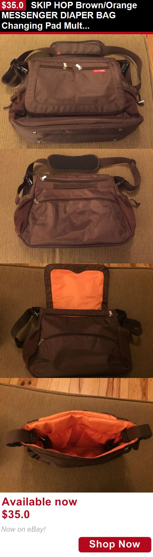 Baby Diaper Bags: Skip Hop Brown/Orange Messenger Diaper Bag Changing Pad Multi Pockets! BUY IT NOW ONLY: $35.0
