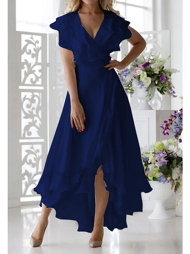 Schlitz mit blaues kleid langes Modernes langes