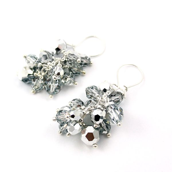 Mirror Bunch. Swarovski Round crystals in the colour of Comet Argent Light (CAL) - looking like liquid silver. Diuu