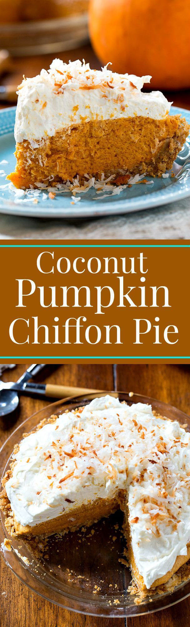 Coconut Pumpkin Chiffon Pie - Served chilled and topped with a rich and decadent mascarpone whipped cream is a welcome change from plain old pumpkin pie.