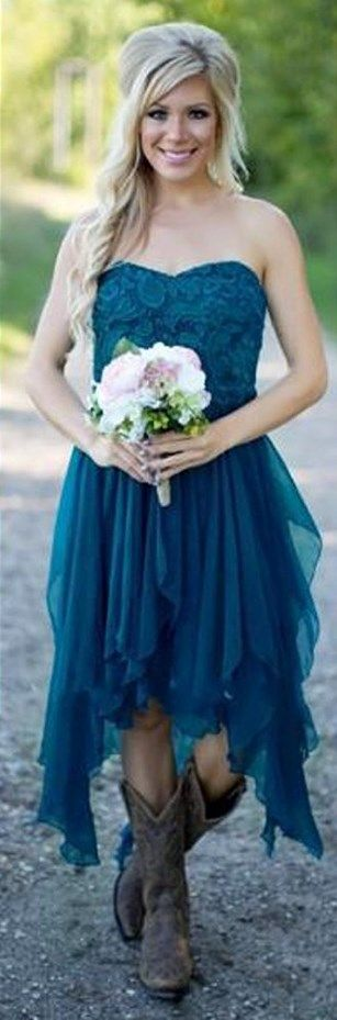 Look the cutest wearing this Country Bridesmaid Dresses Hi-Lo Beach Maid Honor Gowns at your next wedding. || More at http://www.cutedresses.co/go/Country-Bridesmaid-Dresses-Hi-Lo-Beach-Maid-Honor-Gowns-for-Wedding