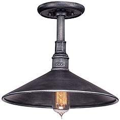 "Toledo Collection 14"" Wide Silver Outdoor Hanging Light"