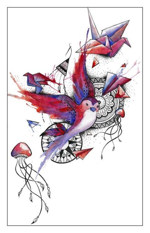 peinture oiseau méduse plumes mandala bleu rouge détails envol  paint bird jellyfish mandalas red blue fly