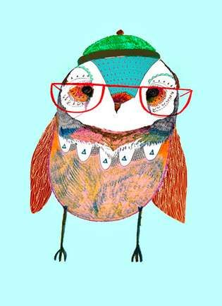 Hip Owl Portraiture -  England-Based Designer Ashley Percival Creates Hipster Bird Prints