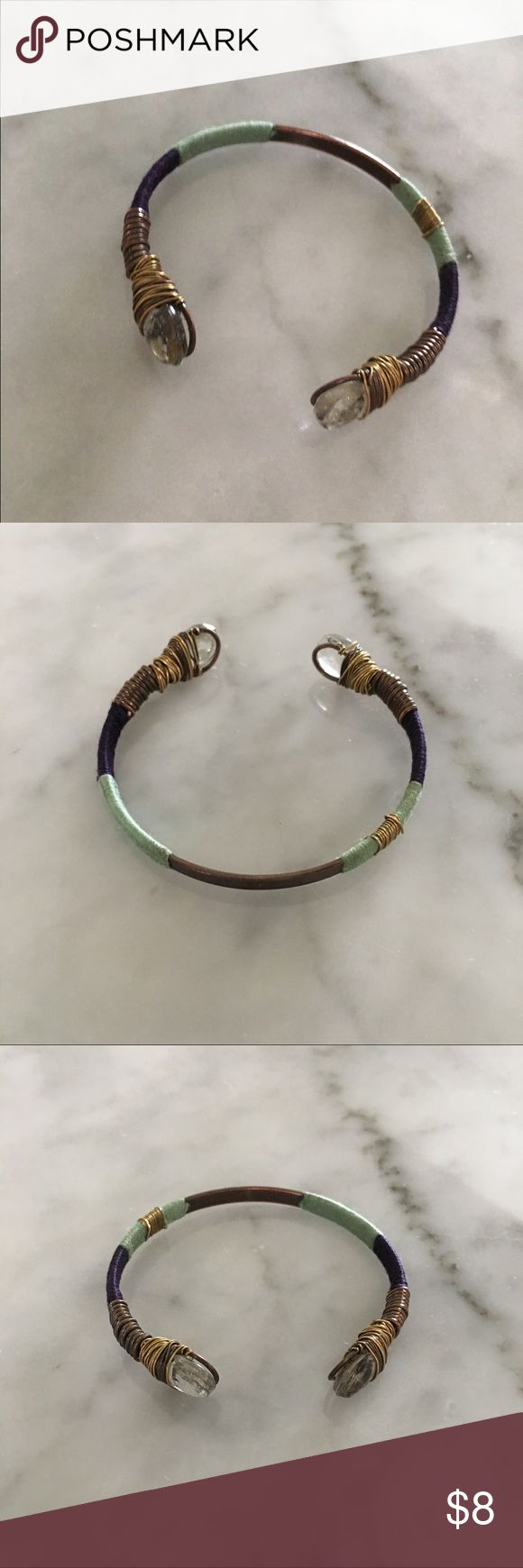 Noonday Collection Festival Bracelet Noonday Collection Festival Bracelet  Used condition Clear beads Mixed metal Blue Green wrapped thread Lightweight Easily shaped to your wrist Jewelry Bracelets