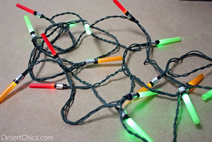 These Lightsaber Christmas lights are a fun DIY Star Wars craft, perfect a Star Wars party, or Star Wars bedroom and your geeky Christmas tree.
