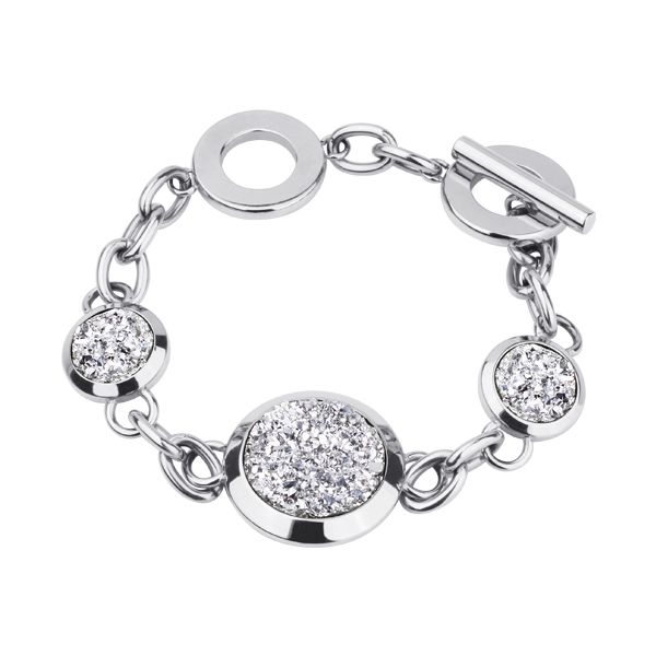 Highly Polished Stainless Steel Bracelet with 3 Round Silver Druzy discs - lots of sparkle, a real statement piece http://lily316.com.au/shop/bracelets-ladies-stainless-steel/silver-druzy-and-polished-stainless-steel-bracelet/
