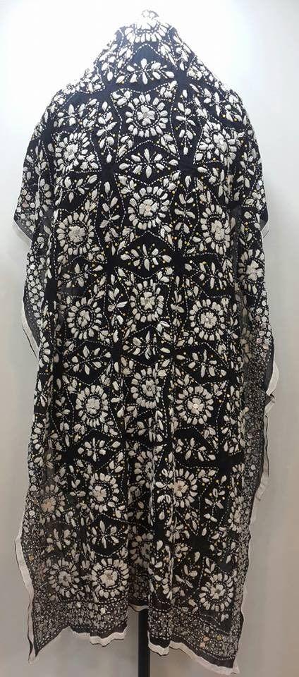 Designer Black Phulkari Dupatta on Faux Georgette fabric   $37