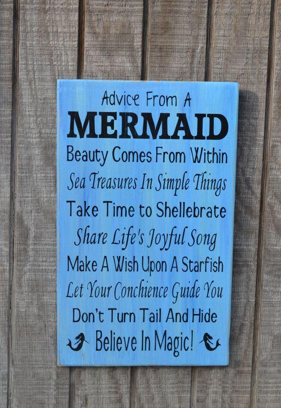 Mermaid - Beach Sign - Beach Decor - Mermaids - Advice From A Mermaid - Beach Theme - Coastal Decor - Reclaimed Wood - Painted on Etsy, $40.00