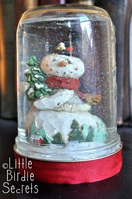 make your own snow globe!  I think this would be so fun for the kids to do over Christmas break with cheap dollar store figurines and old jars!