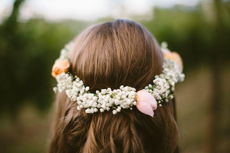 Floral Crown, roses and babys breath. Bride or bridesmaids hair idea. Image: Cavanagh Photography http://cavanaghphotography.com.au