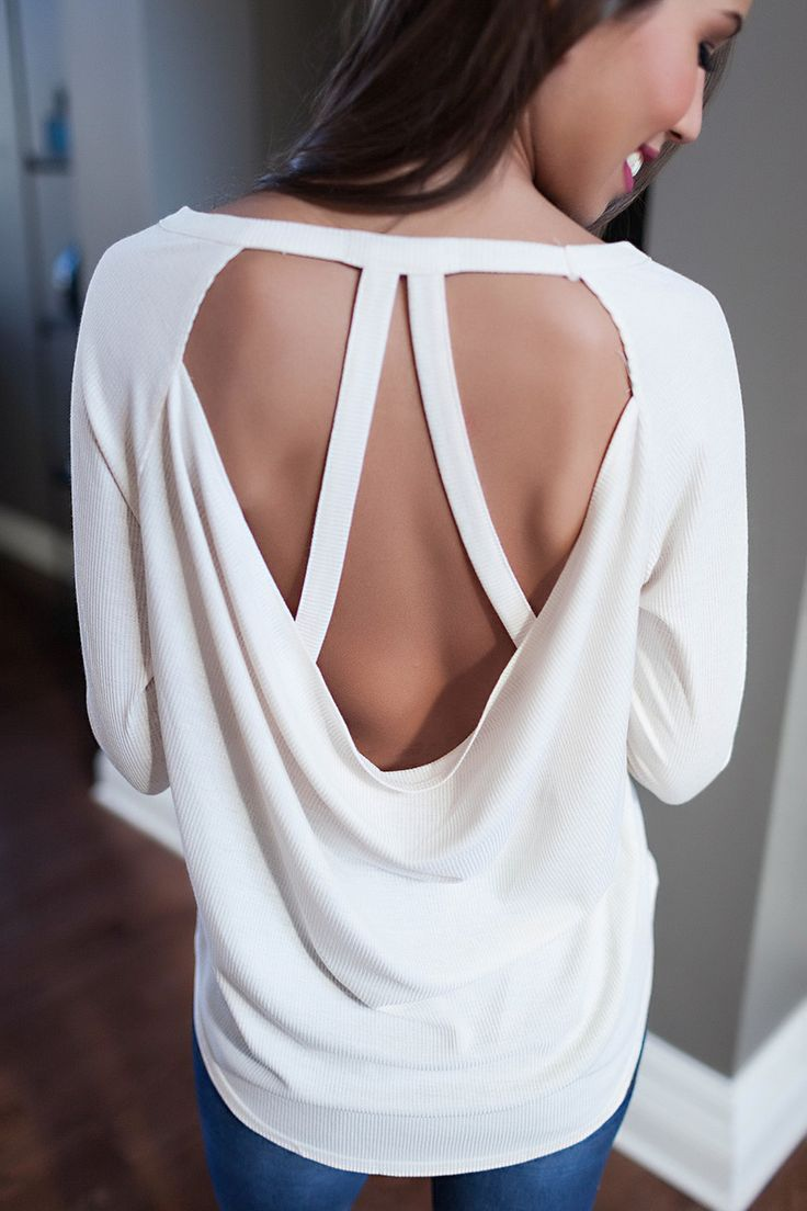 Cream Ribbed Open Back Top - Dottie Couture Boutique