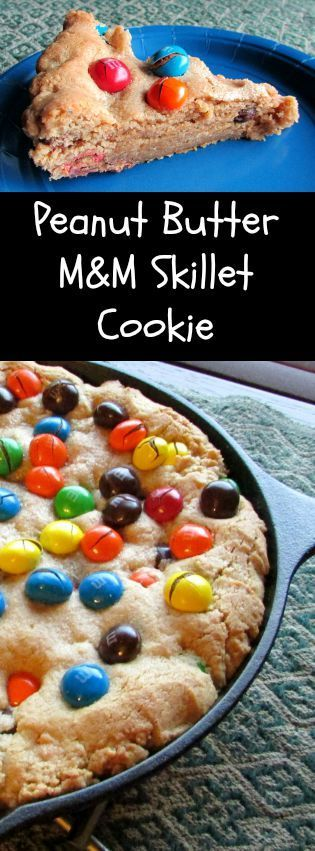 Peanut Butter M&M Skillet Cookie - What a fun way to celebrate back to school! Making this giant cookie in a cast iron skillet allows for every slice to have a nice cookie crunch around the edge with a softer cookie middle. It's the best of both worlds!